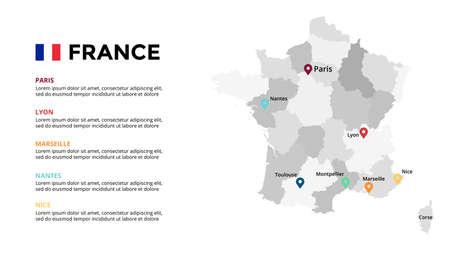 France vector map infographic template. Slide presentation. Paris, Lyon, Marseille, Nantes, Nice. Europe country. World transportation geography data. Ilustração