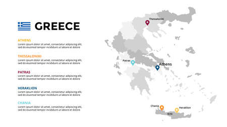 Greece vector map infographic template. Slide presentation. Global business marketing concept. Color Europe country. World transportation geography data.