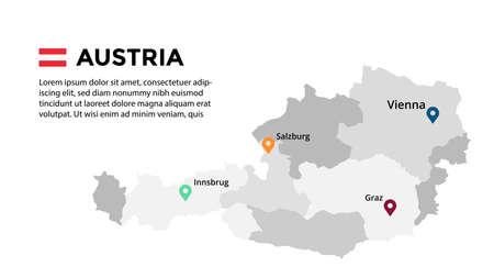 Austria vector map infographic template. Slide presentation. Vienna, Salzburg, Innsbrug, Graz. Color Europe country. World transportation geography data.