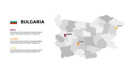 Bulgaria vector map infographic template. Slide presentation. Global business marketing concept. Color Europe country. World transportation geography data.