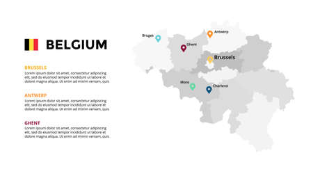 Belgium vector map infographic template. Slide presentation. Global business marketing concept. Color Europe country. World transportation geography data.