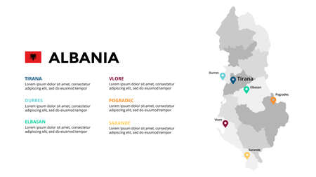 Albania vector map infographic template. Slide presentation. Global business marketing concept. Color Europe country. World transportation geography data.