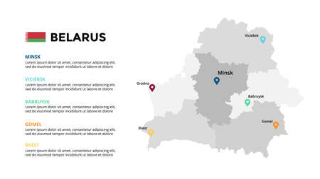 Belarus vector map infographic template. Slide presentation. Global business marketing concept. Color Europe country. World transportation geography data.