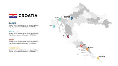 Croatia vector map infographic template. Slide presentation. Zagreb, Pula, Split, Dubrovnik. Europe country. World transportation geography data.