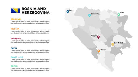 Bosnia and Herzegovina vector map infographic template. Slide presentation. Global business marketing concept. Color Europe country. World transportation geography data.