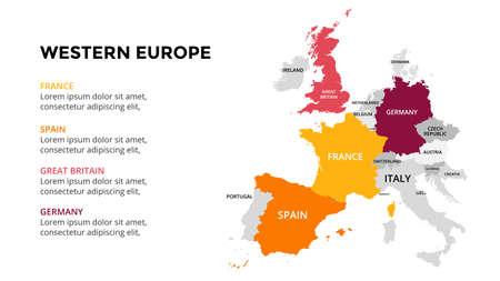 Algeria vector map infographic template. Slide presentation. Global business marketing concept. Color Europe country. World transportation geography data. Ilustração