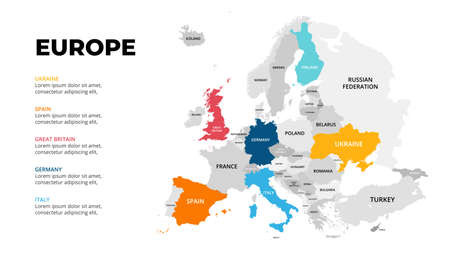Europe continent vector map infographic template. Slide presentation. Global business marketing concept. Color Europe country. World transportation geography data.