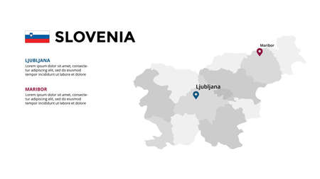Slovenia vector map infographic template. Slide presentation. Global business marketing concept. Color Europe country. World transportation geography data.