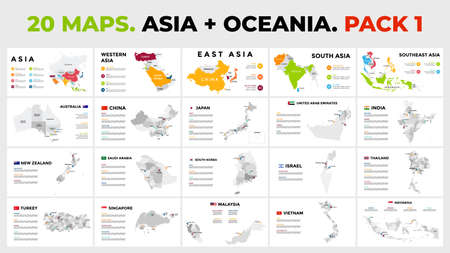 Asia plus Oceania. 20 vector maps. Infographic template for business presentation. Includes Australia, India, New Zealand, Japan, China, UAE etc. All countries divided into regions and with flags. Banco de Imagens