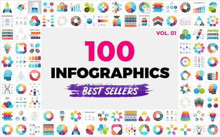 100 Best-Selling Vector Infographic Elements - set 1. Presentation slide templates. Perfect for any industry from social media and startups to ecology and creative thinking.
