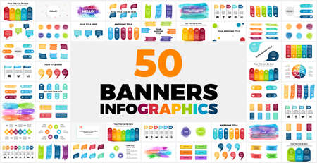 50 Banners Infographic templates. Perfect for any purpose from Presentation or Web Elements to Print or Graphics.