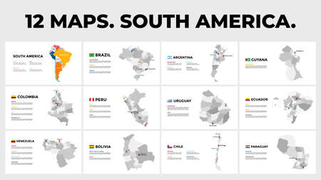 South America. Vector map infographic templates. Slide presentation. Brazil, Argentina, Colombia etc. All countries divided into provinces.