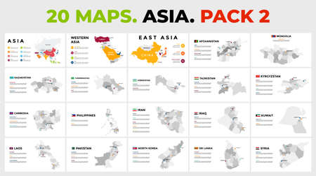Asia vector map infographic templates. Slide presentation. Includes 20 info graphics. Pack 2.