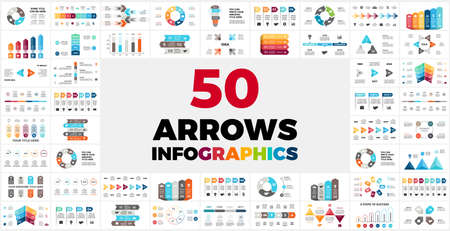 50 Arrows Pack. Infographics for your presentation. Circle diagrams. Use for business or marketing, startup and finance.