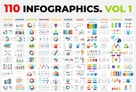 110 Vector Infographics vol 1. Presentation templates includes 11 categories from maps, diagrams or banners to timelines, arrows and creative. Banque d'images