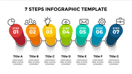 3D Vector Perspective Infographic. Presentation slide template. 7 step options. Chart concept. Colorful creative info graphic design. Ilustração