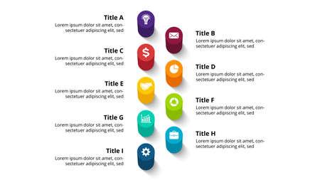 3D Vector Perspective Infographic. Presentation slide template. 9 step options. Chart concept. Colorful creative info graphic design. Ilustração