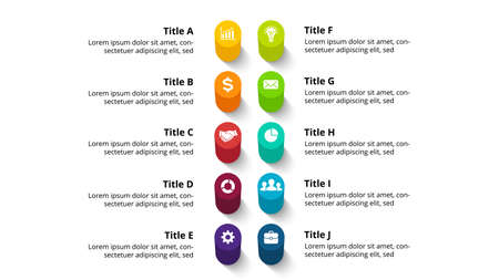 3D Vector Perspective Infographic. Presentation slide template. 10 step options. Chart concept. Colorful creative info graphic design. Ilustração