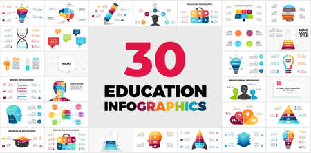 30 Educational Infographics. Presentation template. Includes creative elements such as light bulb for your idea, human head and brain to show thinking and learning processes etc. Ilustração