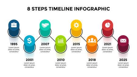 3D Vector Perspective Infographic. Presentation slide template. Timeline concept. 8 step options. View from above. Ilustração
