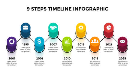 3D Vector Perspective Infographic. Presentation slide template. 9 step options. Timeline concept. Colorful creative info graphic design.