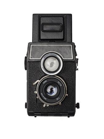 photographic camera: old photographic camera on white background