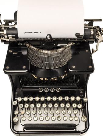 memoirs: typewriter on white background