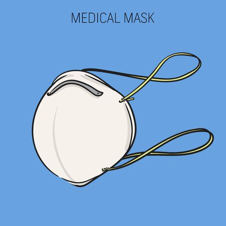 Illustration vector graphic - white protection mask from pollution isolated blue background.