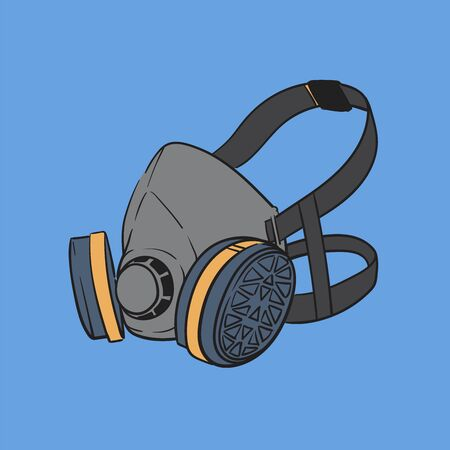 Illustration vector graphic - Respirator Gas mask with changeable filter isolated on blue background.