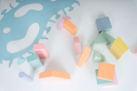 Pastel toy block for kid. Activity for kid. 免版税图像