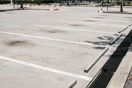 Empty parking car during covid-19 open doors.