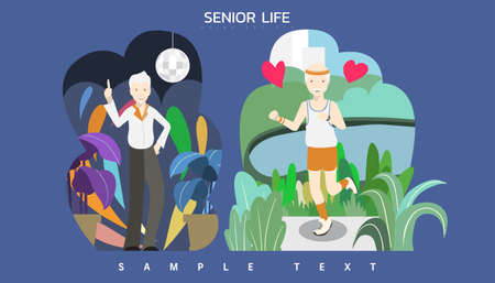 Vector illustration - Strong elderly old man as dancer in the club and sporty guy workout at park by jogging and running.