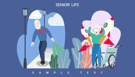 Vector illustration - Elderly people. Man in formal business riding skateboard at park. Old woman wearing VR goggles enjoy technology at home.