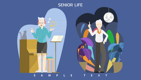 Vector illustration - Elderly people with dancing and singing activity. Çizim