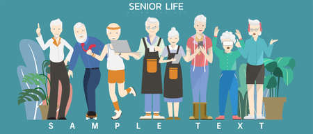 Vector illustration - Group of elderly old people with many career and activity. Ilustração