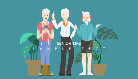 Vector illustration - Three elderly people with difference job career isolated on green background.
