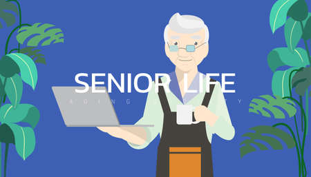 Vector illustration - Old man waiter holding hot coffee and looking at laptop computer.