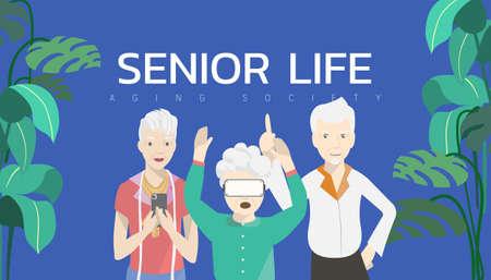 Vector illustration - Three elderly people. Fashionista holding smartphone. Old woman enjoy VR goggles. Old man dancer.