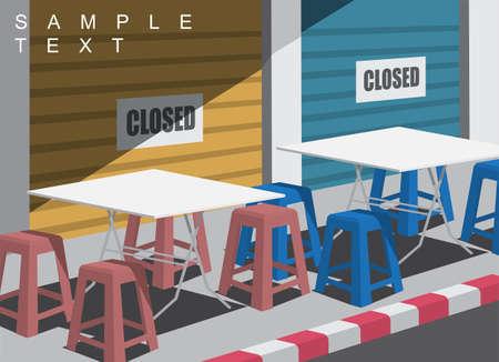 Food shop on the footpath is closed during covid-19 crisis. Illusztráció