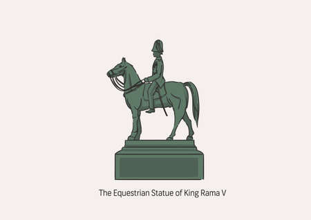 The Equestrian Statue of King Chulalongkorn, the important statue in Thailand referring to King Rama V, the greatest king of Thailand, the illustration for artwork with name.