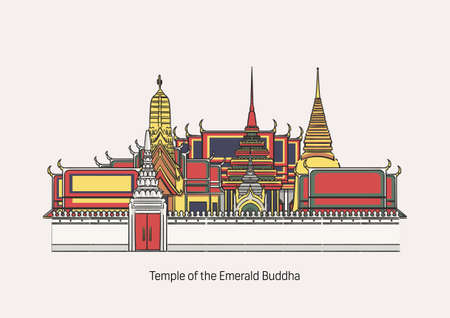 Illustration of Temple of the Emerald Buddha, the main temple of Thai Royal Family, as known as Wat Phra Kaew on white background with name to be primary of artwork. 向量圖像