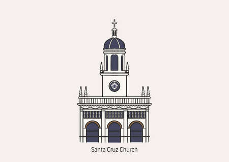 Santa Cruz Church, one of the most beautiful Roman Catholic church in Bangkok, Thailand on white background with name to be the primary of graphic design.