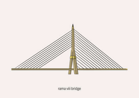 Rama VIII Bridge is in Bangkok, Thailand, a Chao Praya River in daytime with white background and name to be the primary of artwork.