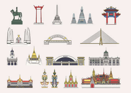 The collection of element illustration famous landmarks in Bangkok, Thailand for artwork and graphic design.