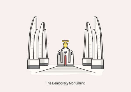 Democracy Monument, the big statue at the roundabout, represent the democracy in Thailand on white background with name for graphic design. 向量圖像