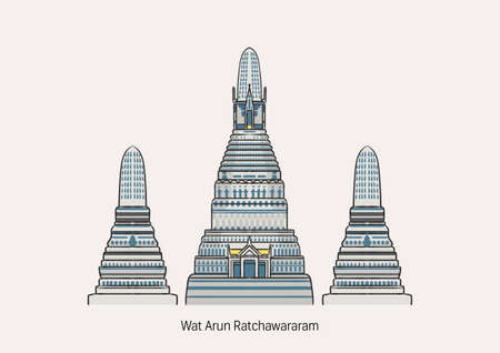 Illustration of Wat Arun, the most famous temple in Thailand on white background with name.