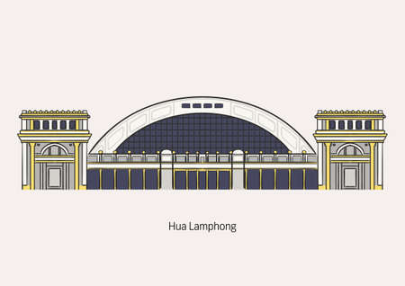 Hua Lamphong Station is the biggest train station in Bangkok, Thailand on white background with name for artwork and graphic design.