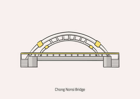 Chong Nonsi Bridge at skytrain station in Bangkok, Thailand with big sun and cloudy sky on white background with name, the base for artwork and graphic design.