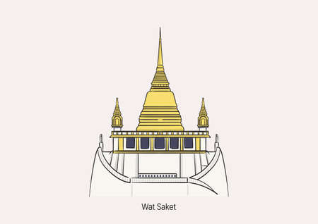 Wat Saket (Golden Mount) one of the most famous tourist attraction in Bangkok, Thailand on white background with name to be the primary of aerwork. 矢量图像