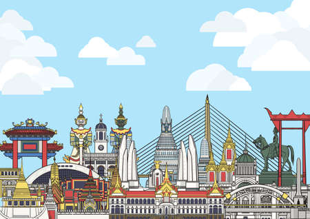 Collection of all landmarks, both sculpture and architecture, in Bangkok with blue sky and white cloud.